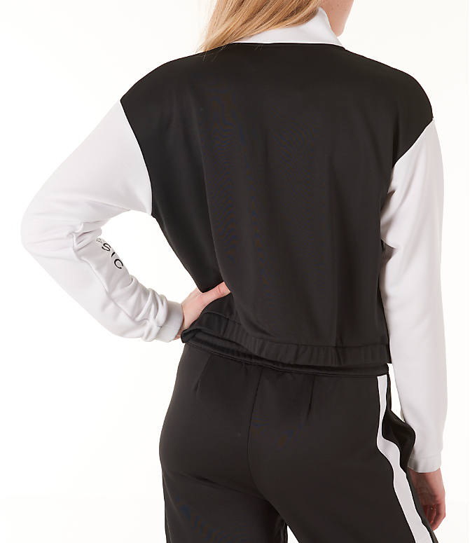 Back Right view of Women's Reebok Classics R Track Jacket in Black/White