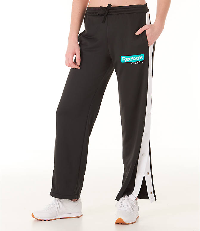 Front view of Women's Reebok Classics R Snap Track Pants in Black/White