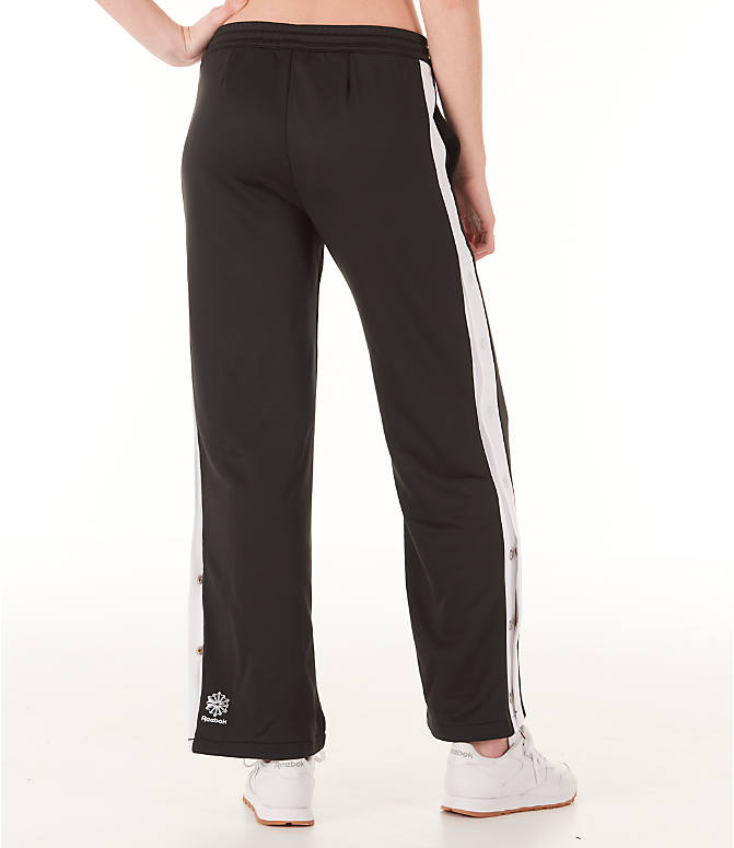 Back Right view of Women's Reebok Classics R Snap Track Pants in Black/White