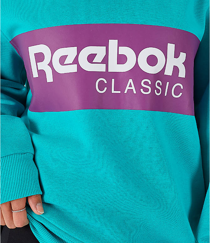 Detail 1 view of Women's Reebok Classics Iconic Crewneck Sweatshirt in Solid Teal