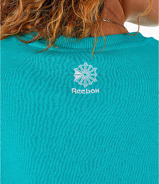 Detail 2 view of Women's Reebok Classics Iconic Crewneck Sweatshirt in Solid Teal