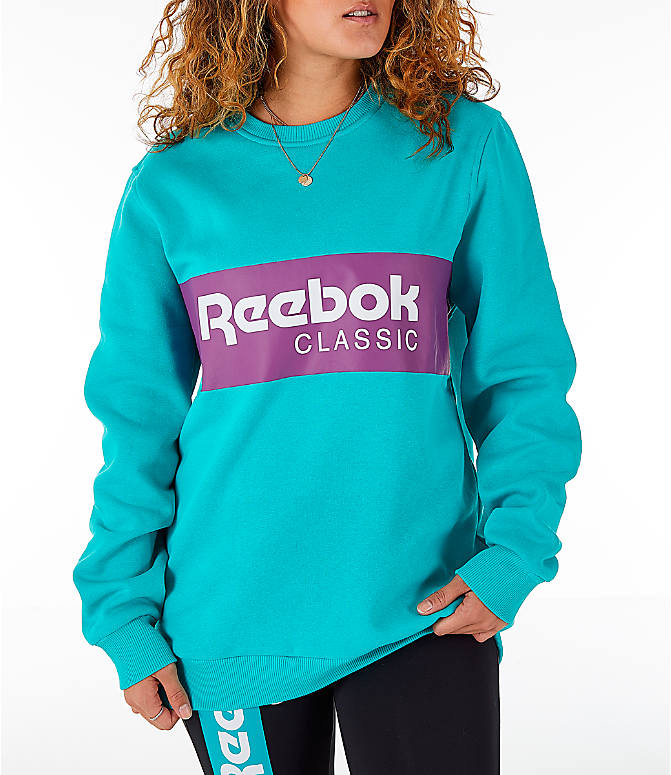 Front view of Women's Reebok Classics Iconic Crewneck Sweatshirt in Solid Teal