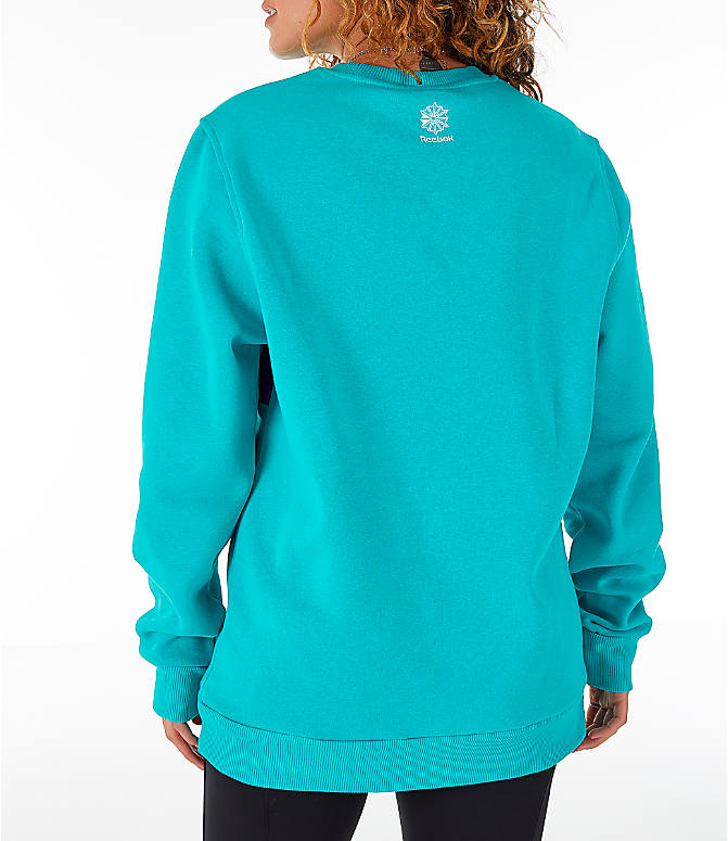 Back Left view of Women's Reebok Classics Iconic Crewneck Sweatshirt in Solid Teal
