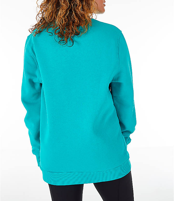 Back Right view of Women's Reebok Classics Iconic Crewneck Sweatshirt in Solid Teal