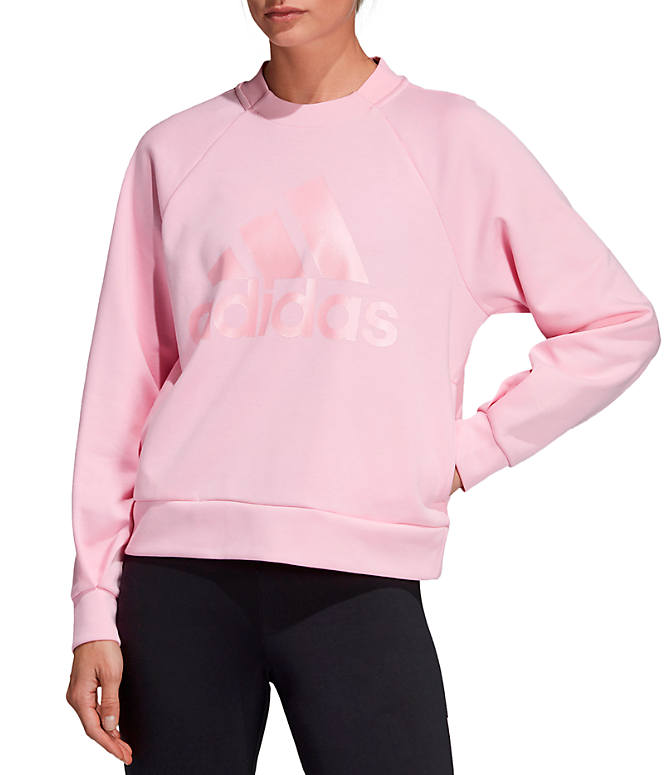 Front view of Women s adidas ID Glory Crewneck Sweatshirt in True Pink 0ed70ad0d