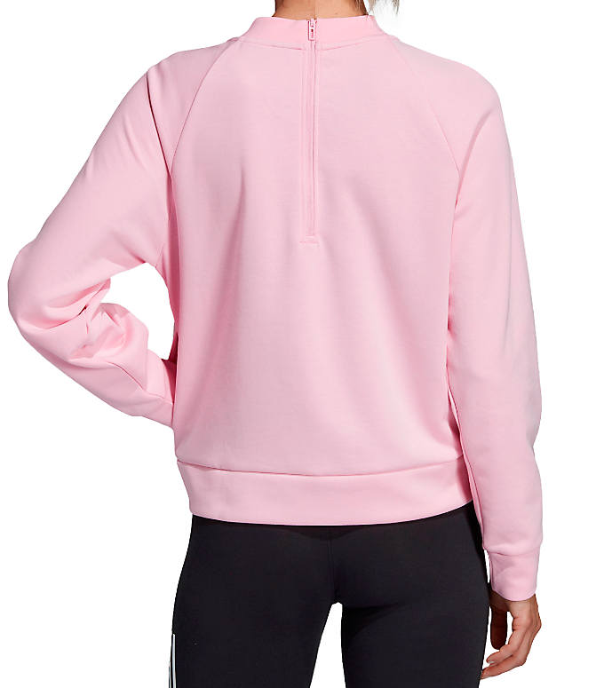 Front Three Quarter view of Women's adidas ID Glory Crewneck Sweatshirt in True Pink