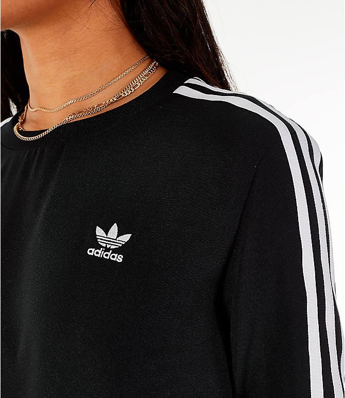 Detail 1 view of Women's adidas Originals Flare Hem Swing T-Shirt Dress in Black/White