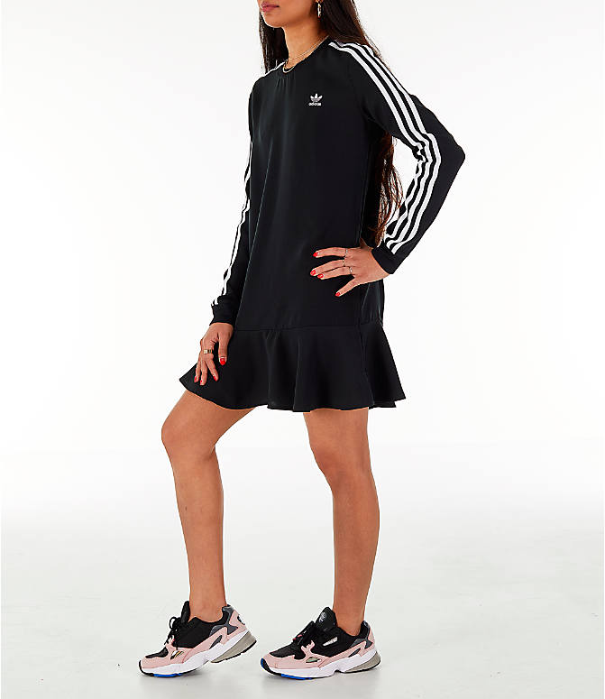 Front view of Women's adidas Originals Flare Hem Swing T-Shirt Dress in Black/White