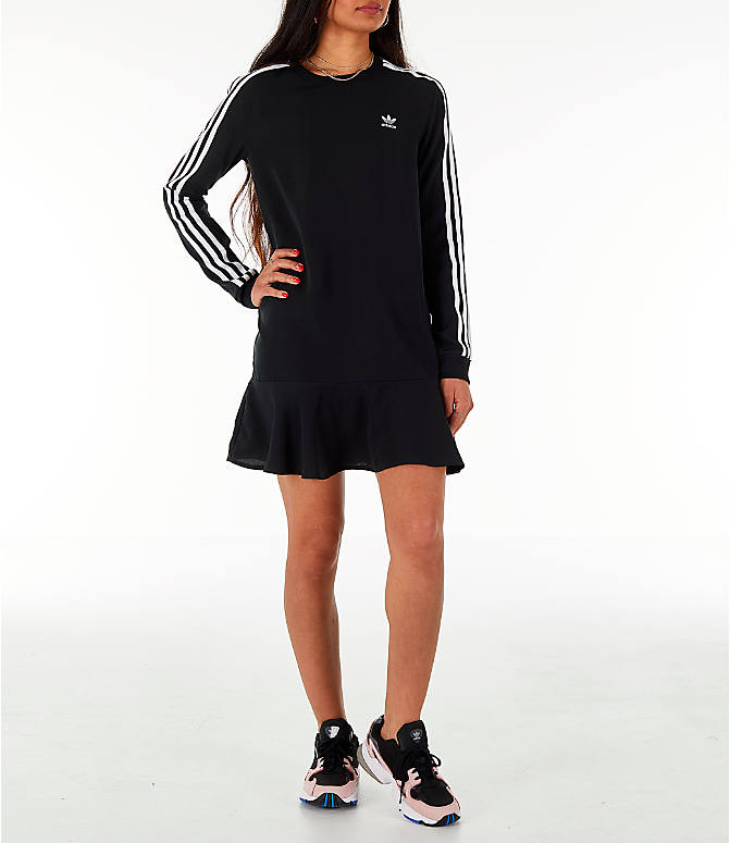 Front Three Quarter view of Women's adidas Originals Flare Hem Swing T-Shirt Dress in Black/White