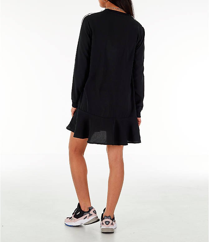 Back Left view of Women's adidas Originals Flare Hem Swing T-Shirt Dress in Black/White