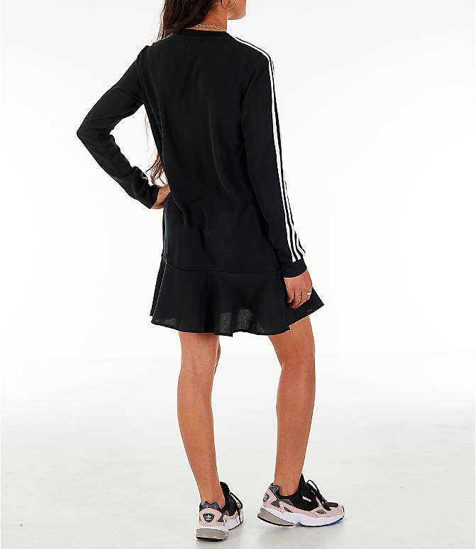 Back Right view of Women's adidas Originals Flare Hem Swing T-Shirt Dress in Black/White