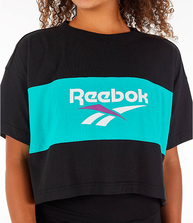 Detail 1 view of Women's Reebok Classics Crop T-Shirt in Black/Teal