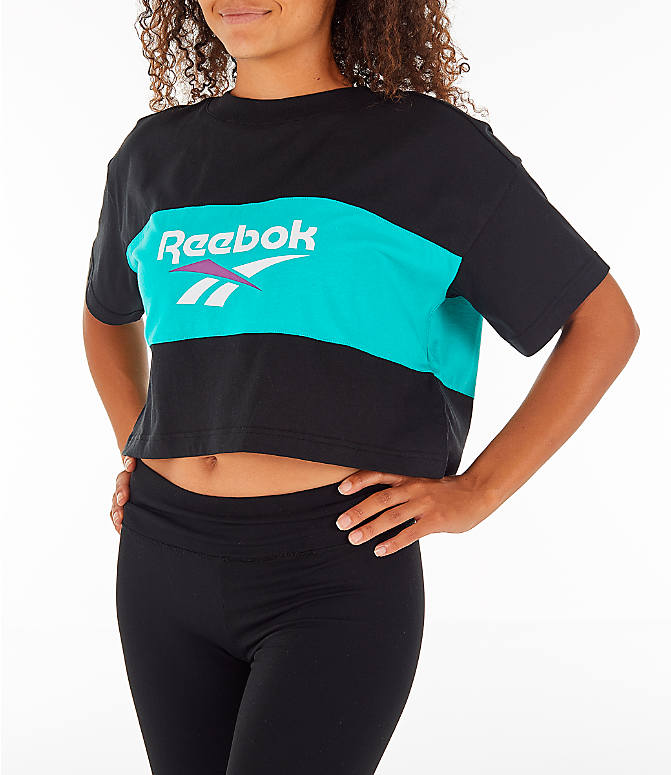 Detail 2 view of Women's Reebok Classics Crop T-Shirt in Black/Teal