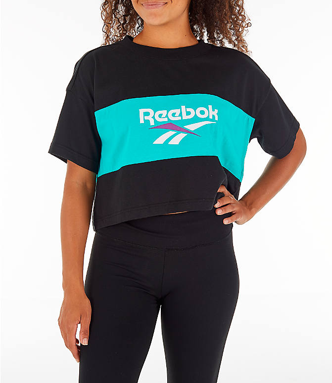 Front view of Women's Reebok Classics Crop T-Shirt in Black/Teal