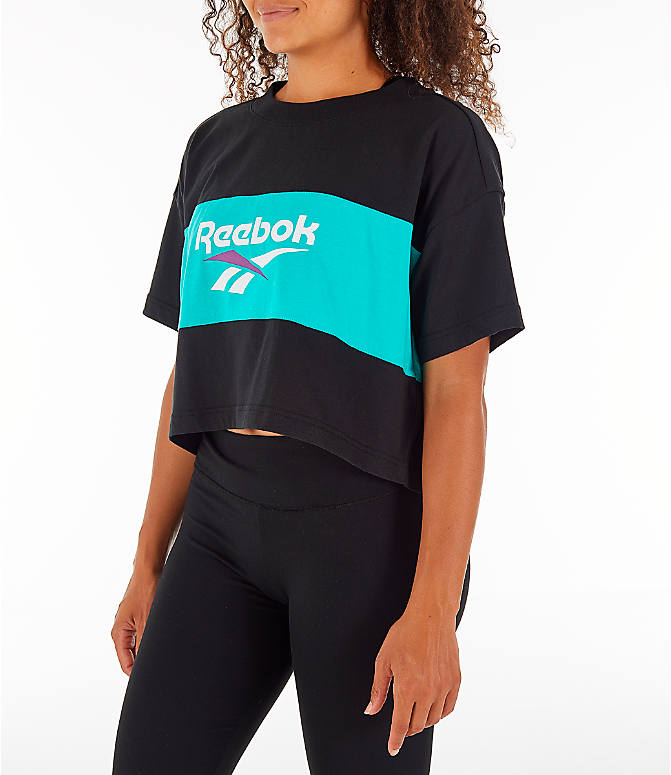 Front Three Quarter view of Women's Reebok Classics Crop T-Shirt in Black/Teal