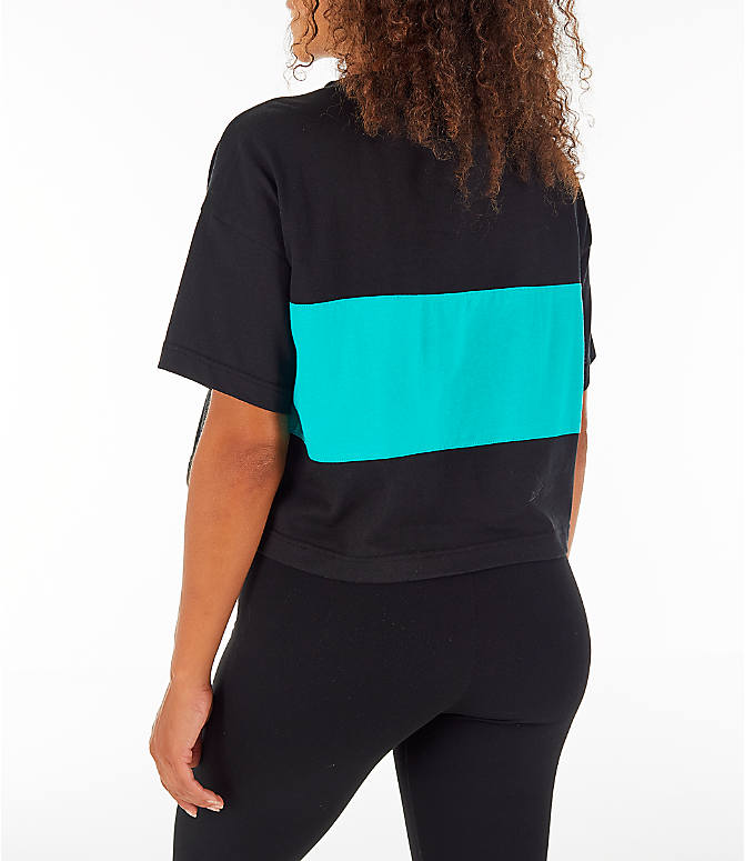 Back Left view of Women's Reebok Classics Crop T-Shirt in Black/Teal