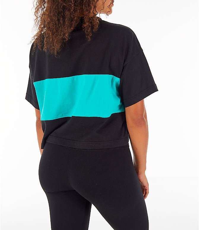 Back Right view of Women's Reebok Classics Crop T-Shirt in Black/Teal