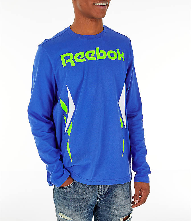 Front view of Men's Reebok Classics Vector Long Sleeve T-Shirt in Crushed Cobalt