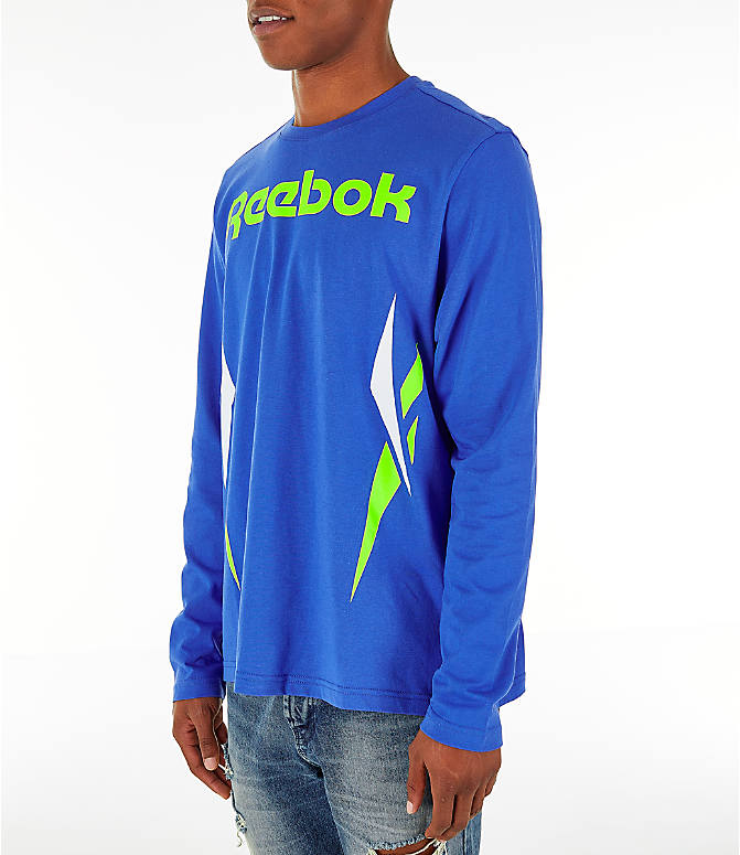 Front Three Quarter view of Men's Reebok Classics Vector Long Sleeve T-Shirt in Crushed Cobalt