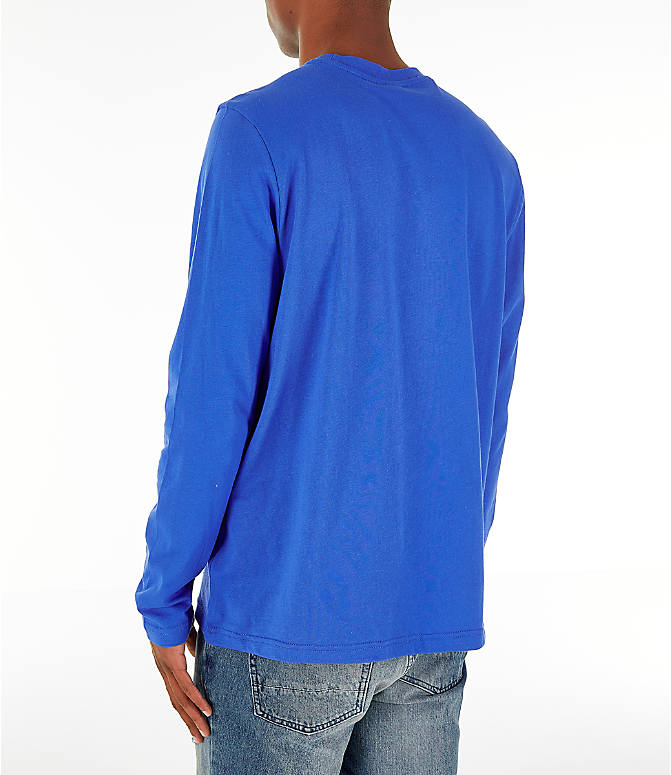 Back Left view of Men's Reebok Classics Vector Long Sleeve T-Shirt in Crushed Cobalt