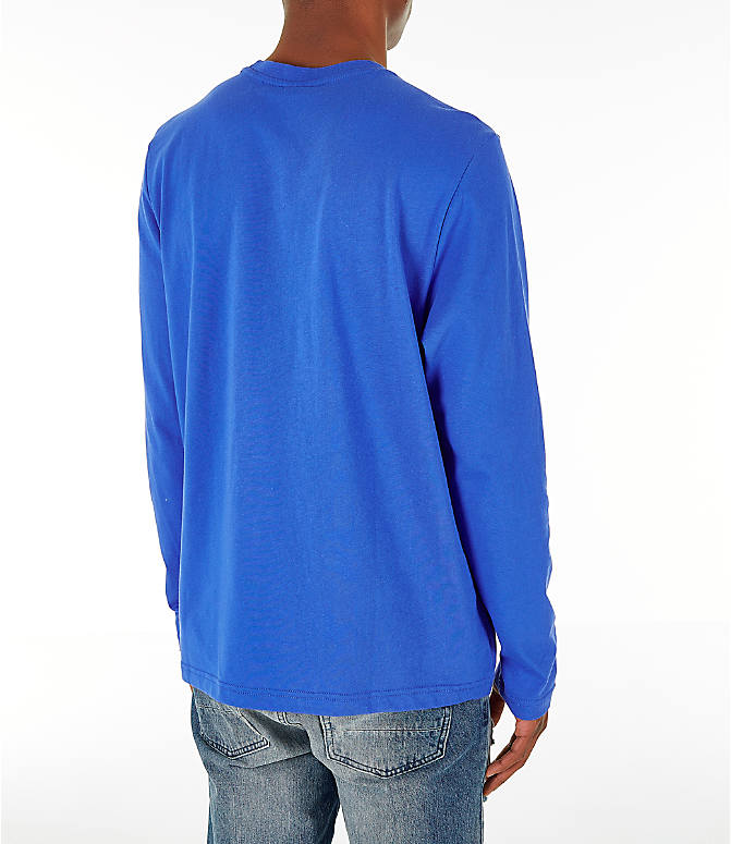 Back Right view of Men's Reebok Classics Vector Long Sleeve T-Shirt in Crushed Cobalt