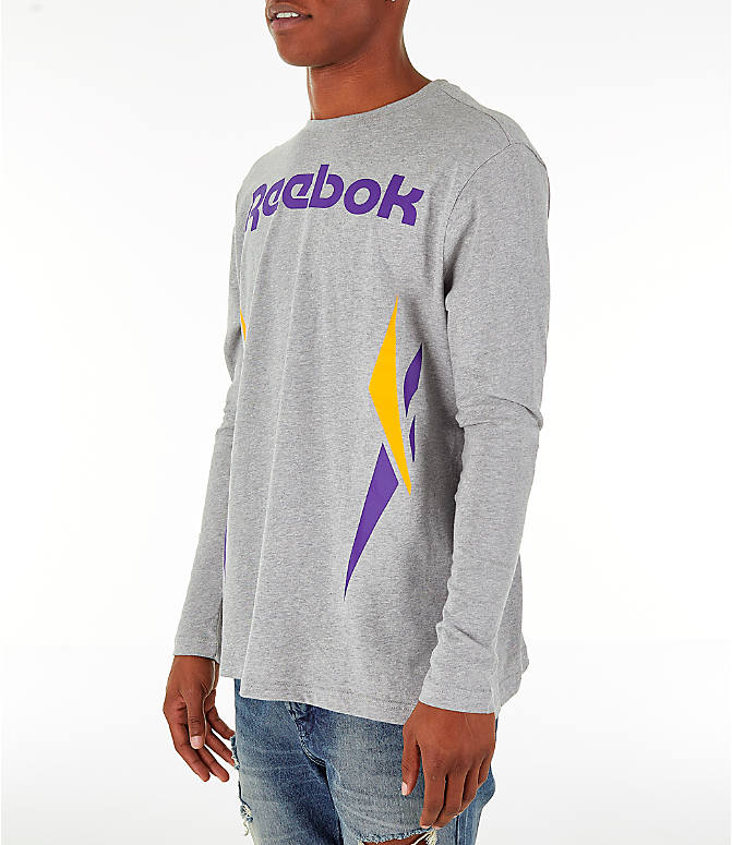 Front Three Quarter view of Men's Reebok Classics Vector Long Sleeve T-Shirt in Medium Heather Grey
