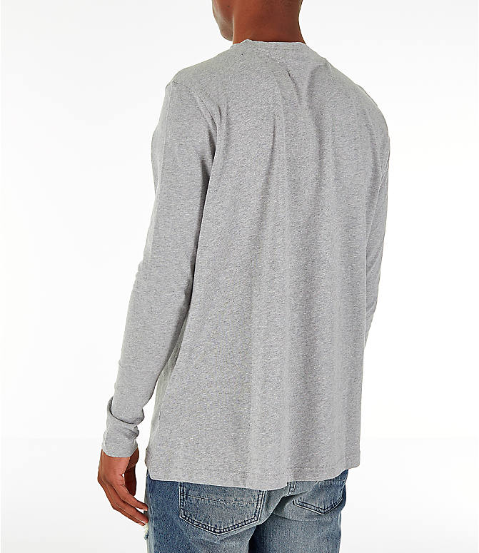 Back Left view of Men's Reebok Classics Vector Long Sleeve T-Shirt in Medium Heather Grey