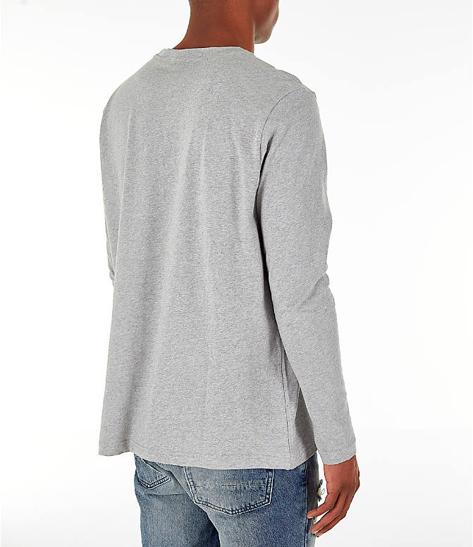 Back Right view of Men's Reebok Classics Vector Long Sleeve T-Shirt in Medium Heather Grey
