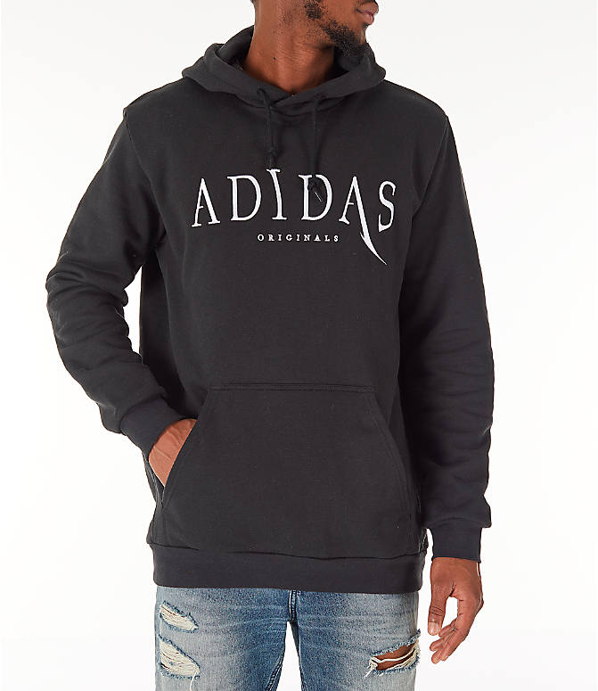 Front view of Men's adidas Originals Planetoid Hoodie in Black