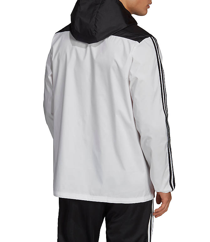 Front Three Quarter view of Men's adidas Tiro Windbreaker Jacket in White/Black