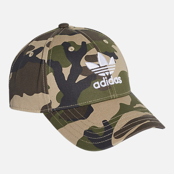 Front view of adidas Originals Classic Camo Trefoil Adjustable Hat in Blanch Cargo/White