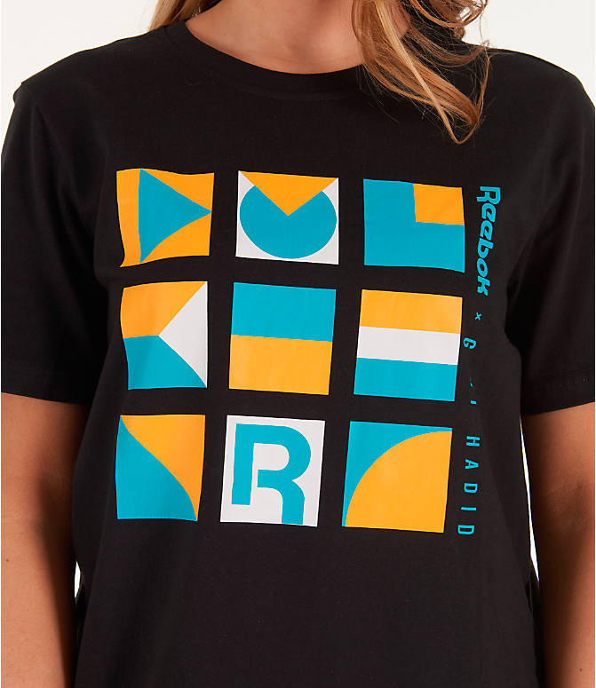 Detail 1 view of Women's Reebok x Gigi Hadid T-Shirt in Black/Teal/Yellow