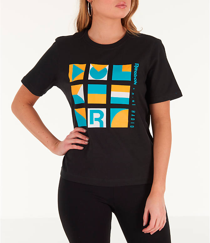 Front view of Women's Reebok x Gigi Hadid T-Shirt in Black/Teal/Yellow