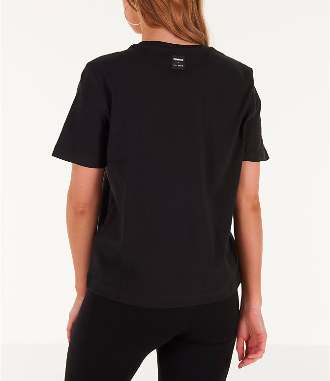 Back Left view of Women's Reebok x Gigi Hadid T-Shirt in Black/Teal/Yellow