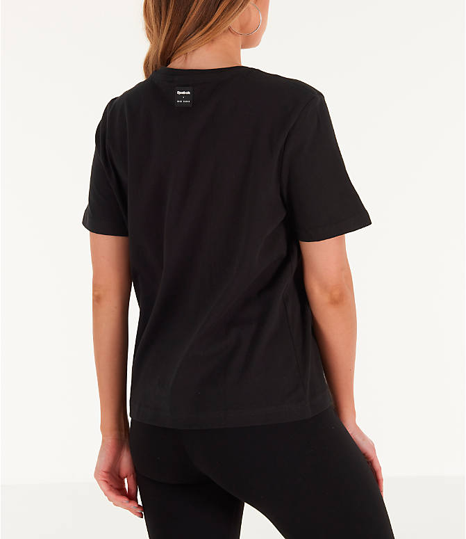 Back Right view of Women's Reebok x Gigi Hadid T-Shirt in Black/Teal/Yellow