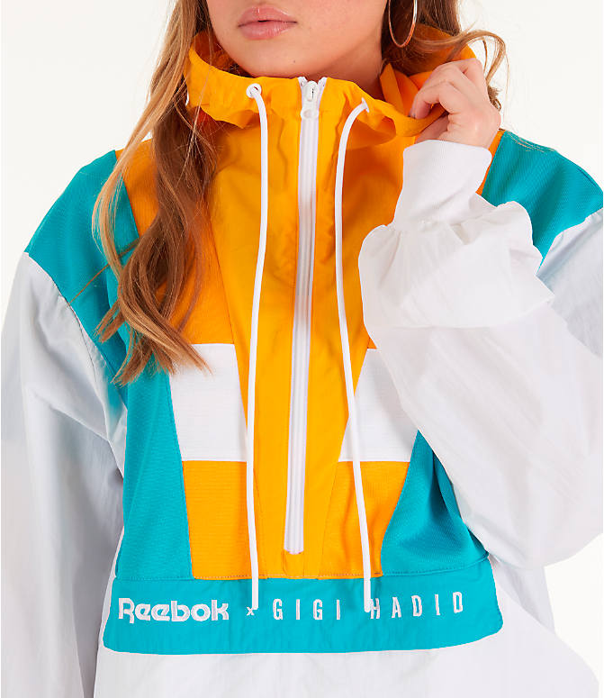 Detail 1 view of Women's Reebok x Gigi Hadid Classics Half-Zip Cover-Up Hoodie in White/Teal/Yellow