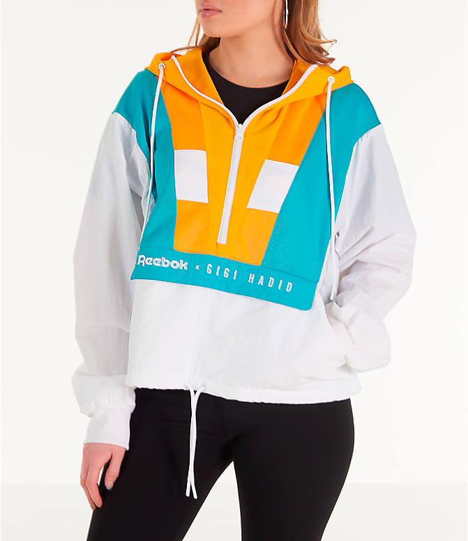 Front view of Women's Reebok x Gigi Hadid Classics Half-Zip Cover-Up Hoodie in White/Teal/Yellow
