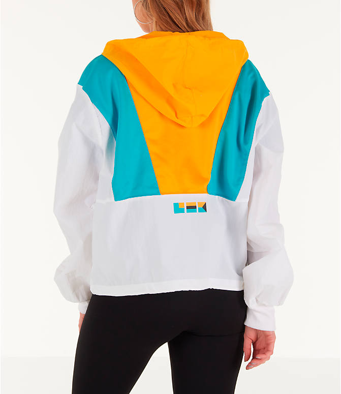 Back Left view of Women's Reebok x Gigi Hadid Classics Half-Zip Cover-Up Hoodie in White/Teal/Yellow