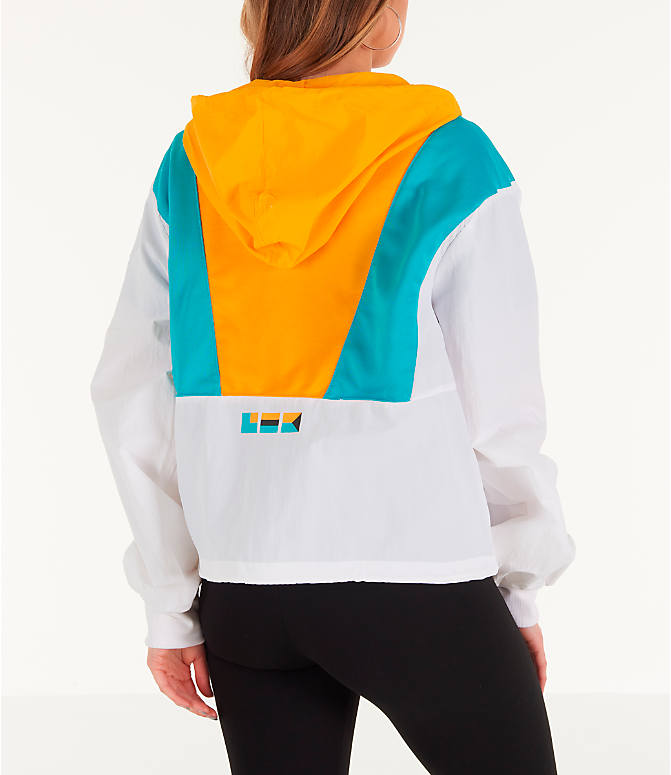 Back Right view of Women's Reebok x Gigi Hadid Classics Half-Zip Cover-Up Hoodie in White/Teal/Yellow