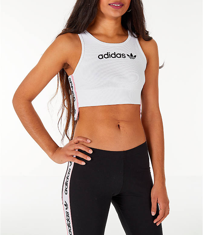 Front view of Women's adidas Originals Cropped Ribbed Bra Top in White/Black/Light Pink