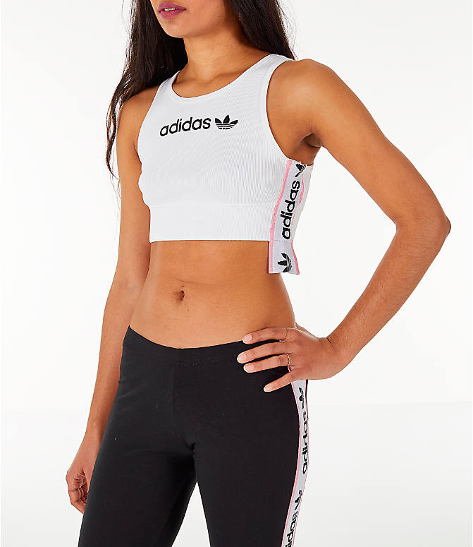 Front Three Quarter view of Women's adidas Originals Cropped Ribbed Bra Top in White/Black/Light Pink