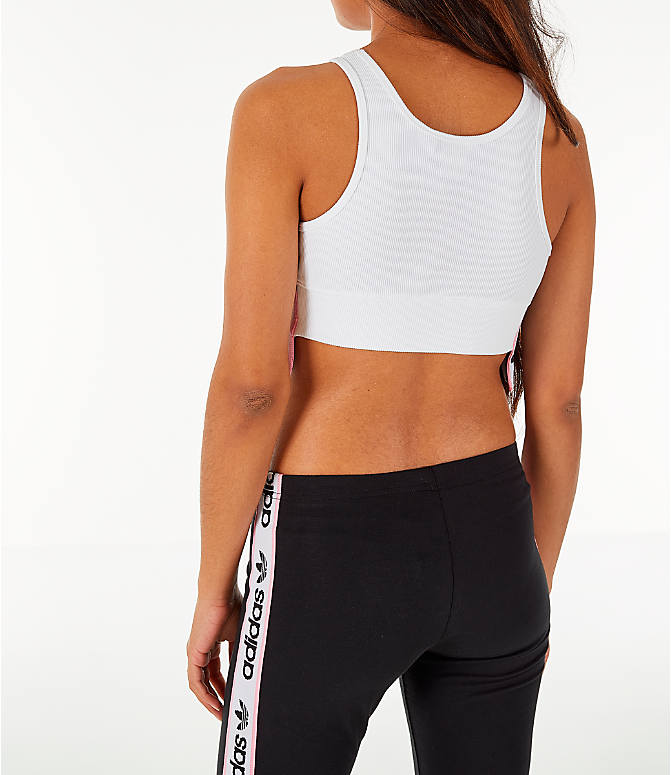 Back Left view of Women's adidas Originals Cropped Ribbed Bra Top in White/Black/Light Pink