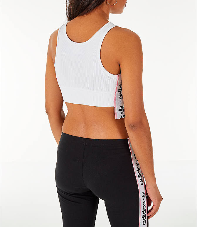 Back Right view of Women's adidas Originals Cropped Ribbed Bra Top in White/Black/Light Pink