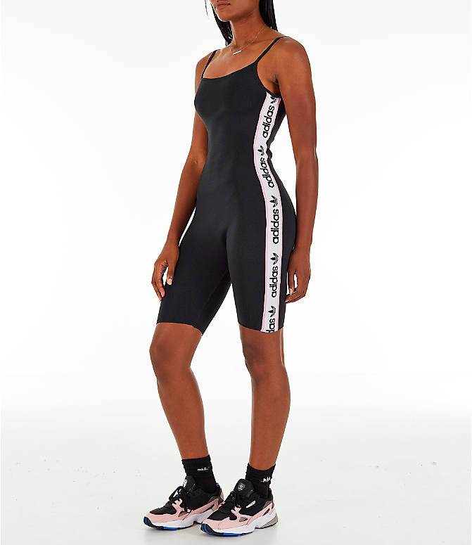 Front Three Quarter view of Women's adidas Originals Knitted Body Suit in Black