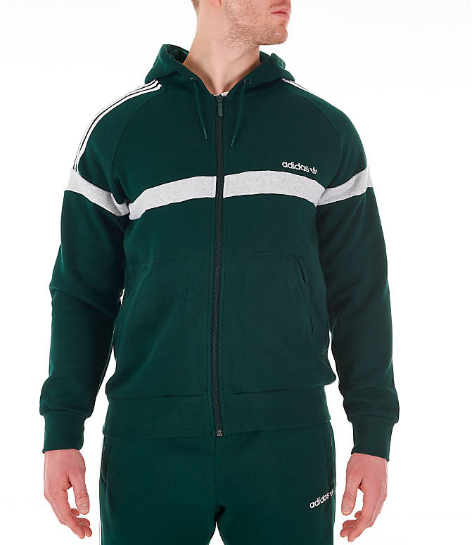 Front view of Men's adidas Originals Itasca Full-Zip Hoodie in Green Night