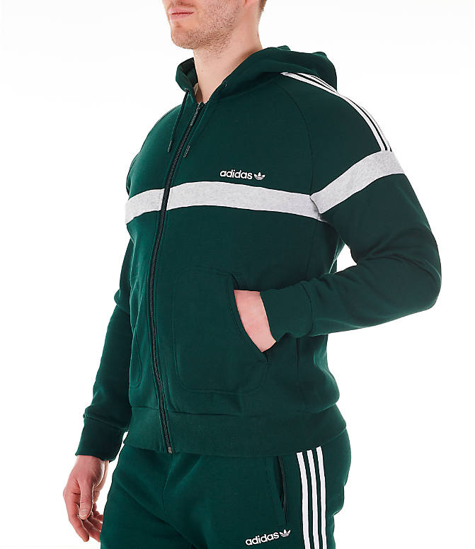 Front Three Quarter view of Men's adidas Originals Itasca Full-Zip Hoodie in Green Night