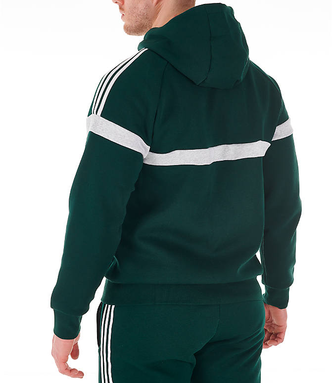 Back Left view of Men's adidas Originals Itasca Full-Zip Hoodie in Green Night