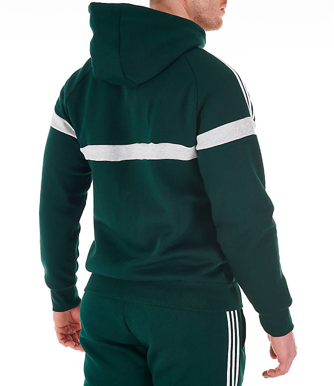 Back Right view of Men's adidas Originals Itasca Full-Zip Hoodie in Green Night