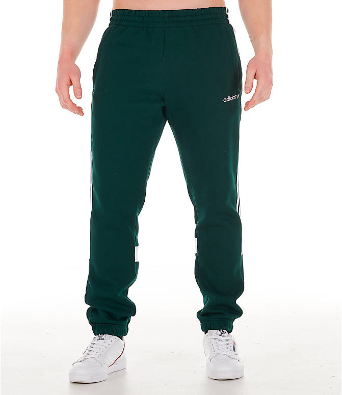 Front Three Quarter view of Men's adidas Originals Itasca Fleece Jogger Pants in Green Night