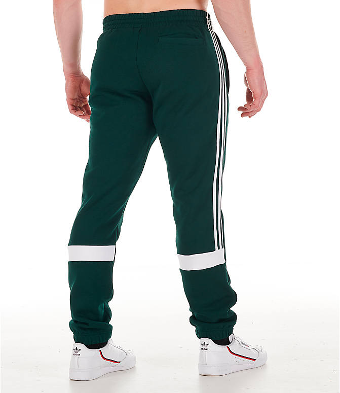 Back Right view of Men's adidas Originals Itasca Fleece Jogger Pants in Green Night